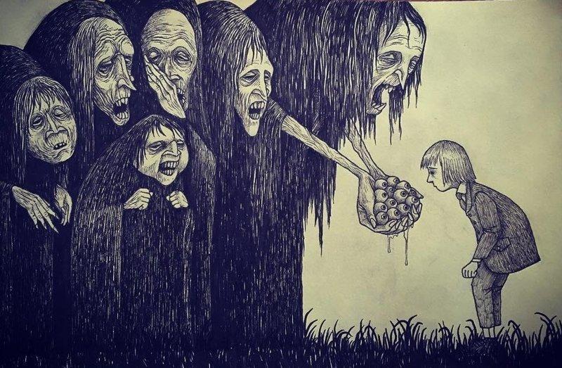 9. Кинь взгляд иллюстрация, рисунок, страх, ужас, фантазия, художник