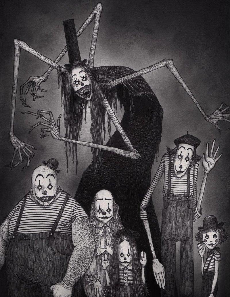 1. Мимы из ада иллюстрация, рисунок, страх, ужас, фантазия, художник