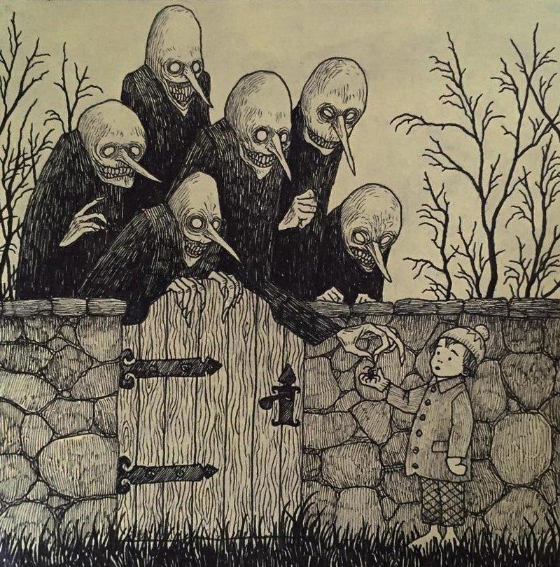 15. Визит иллюстрация, рисунок, страх, ужас, фантазия, художник