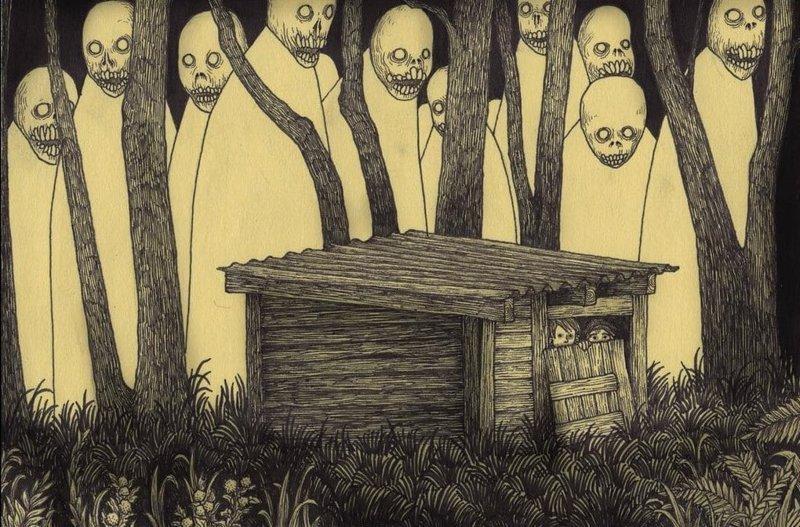 5. Сарай в лесу иллюстрация, рисунок, страх, ужас, фантазия, художник