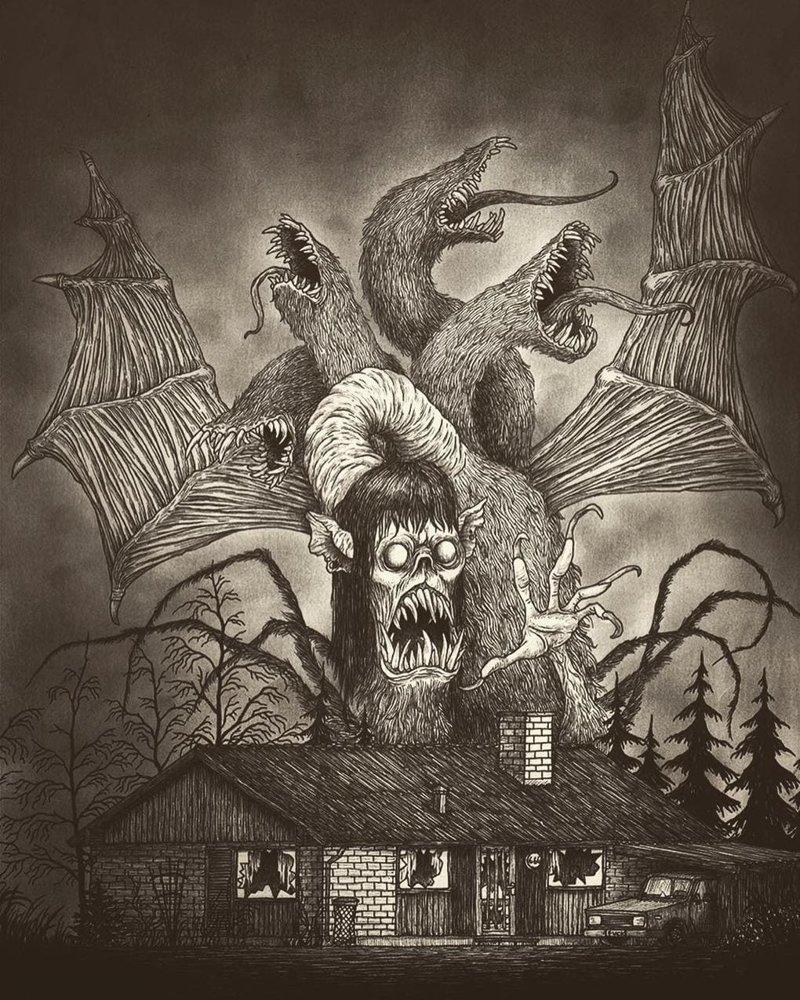 22. За твоей дверью иллюстрация, рисунок, страх, ужас, фантазия, художник