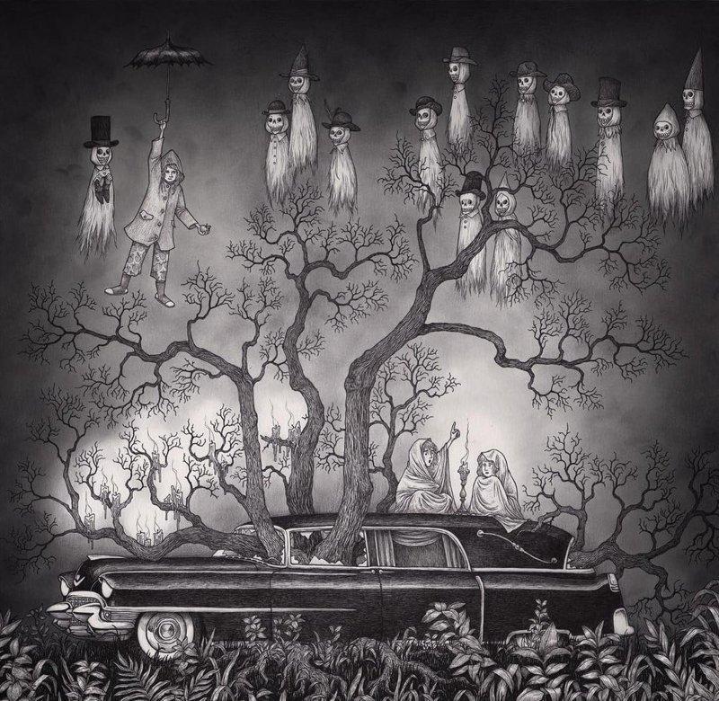 2. Кадиллак с деревом и призраками иллюстрация, рисунок, страх, ужас, фантазия, художник