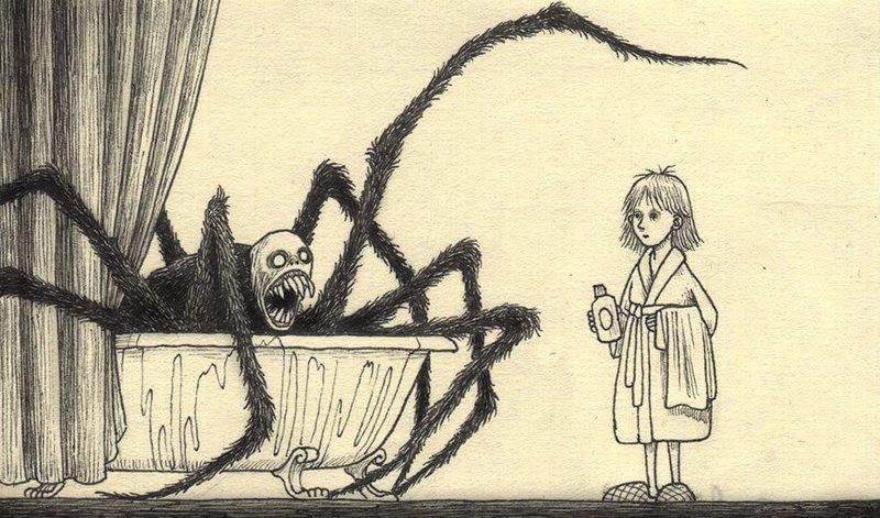 23. Холодная вода иллюстрация, рисунок, страх, ужас, фантазия, художник