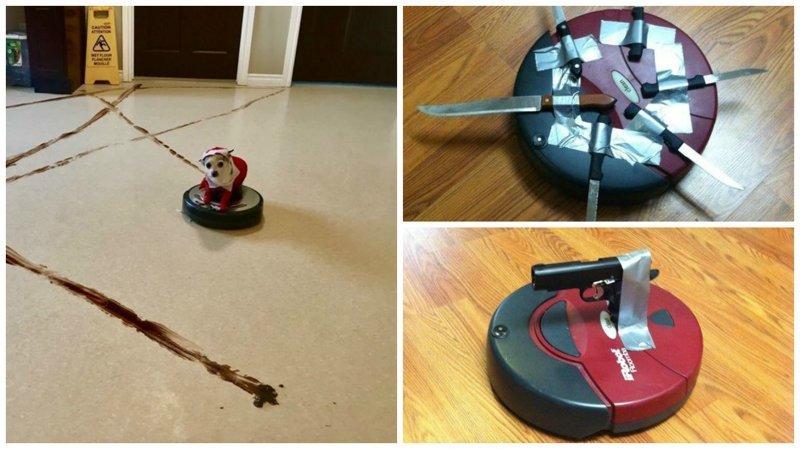 Робот-пылесос создан для того, чтобы уничтожить человечество видео, прикол, робот-пылесос, уборка, фото, чистота, юмор