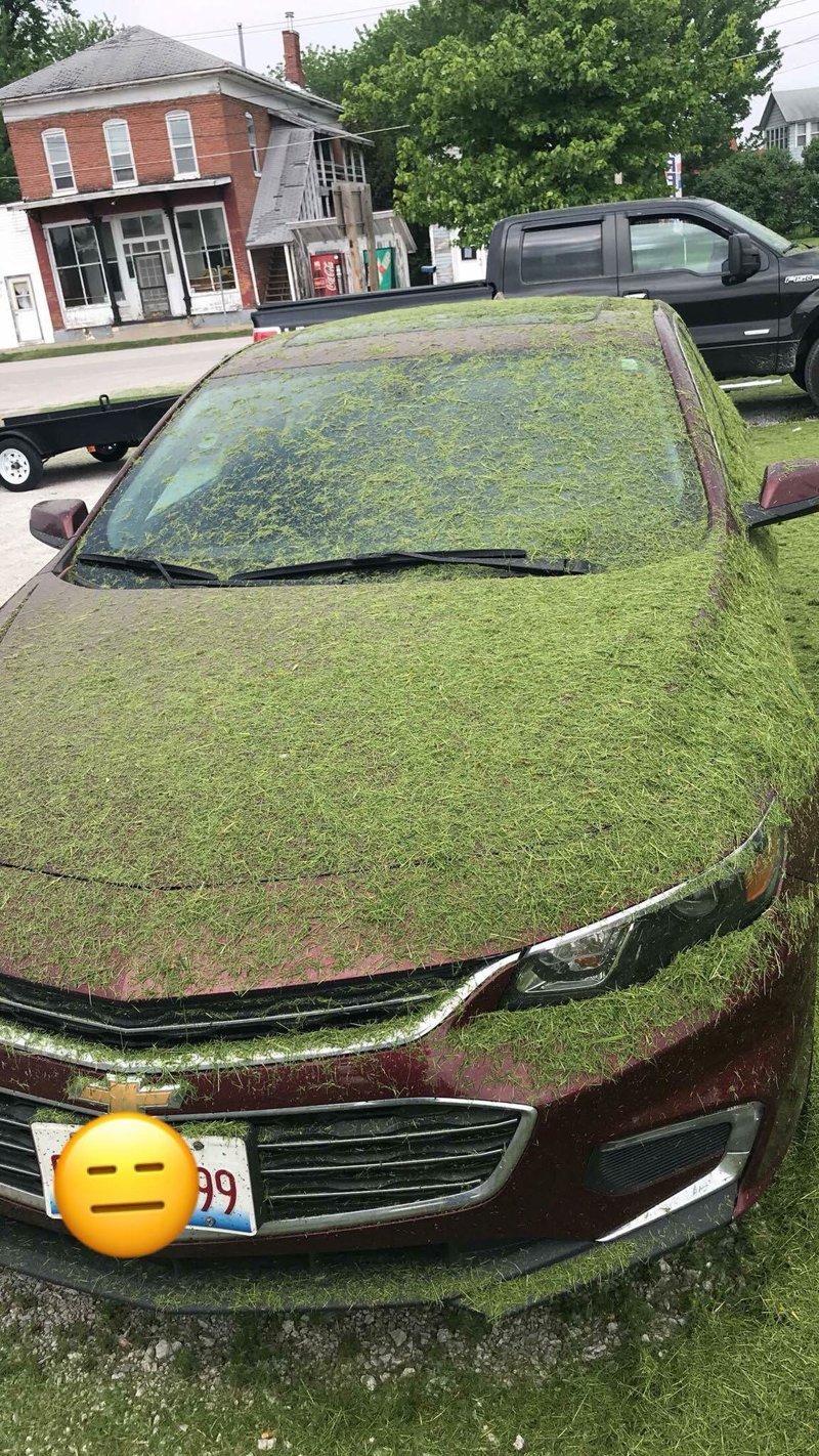 14. «Ставить машину рядом с газоном точно не стоило» вещи, забавно, подборка, прикол, юмор