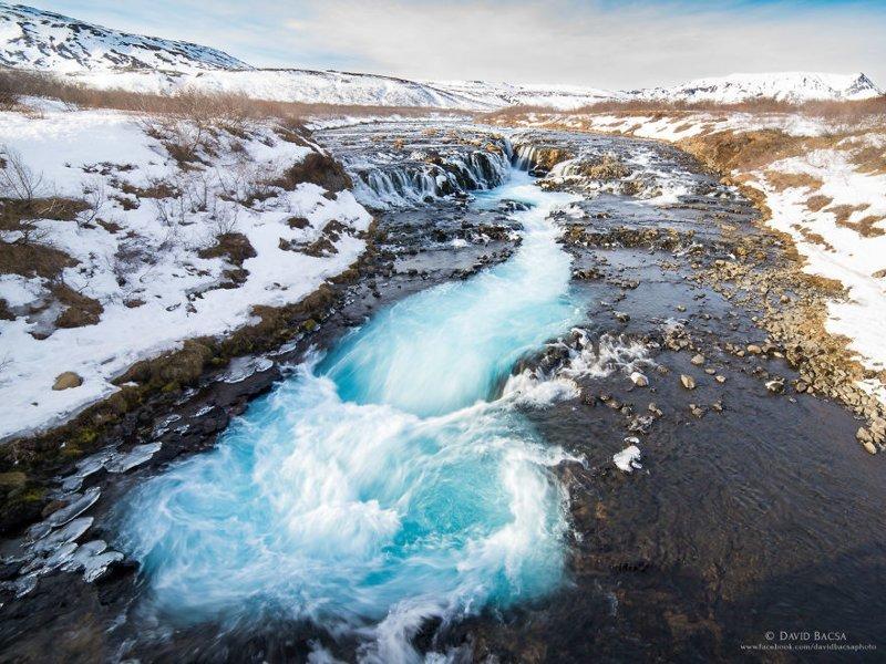 Водопад Бруарфосс (Brúarfoss) исландия, красиво, красивый вид, природа, путешествия, туризм, фото, фотограф