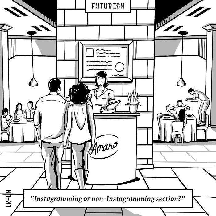 «Вам столик в инстаграмной или неинстаграмной зоне?» будущее, в мире, комиксы, люди, планета, рисунки. правда жизни