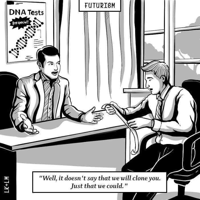 «Ну, тут не говорится, что мы вас клонируем. Просто что мы можем это сделать» будущее, в мире, комиксы, люди, планета, рисунки. правда жизни