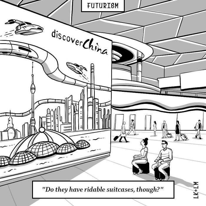«А в Китае есть ездовые чемоданы?» будущее, в мире, комиксы, люди, планета, рисунки. правда жизни