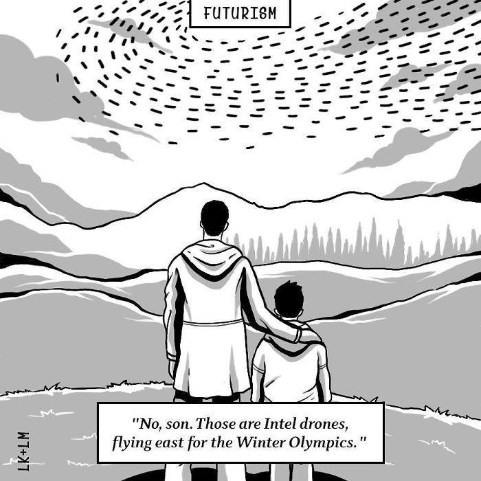 «Нет, сынок. Это дроны летят на Зимние Олимпийские игры» будущее, в мире, комиксы, люди, планета, рисунки. правда жизни