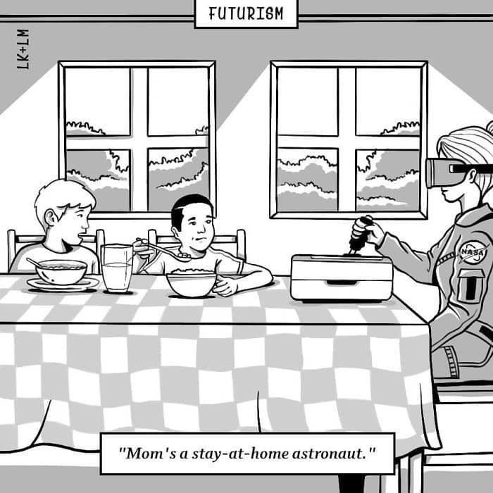 «Мама работает космонавтом на дому» будущее, в мире, комиксы, люди, планета, рисунки. правда жизни