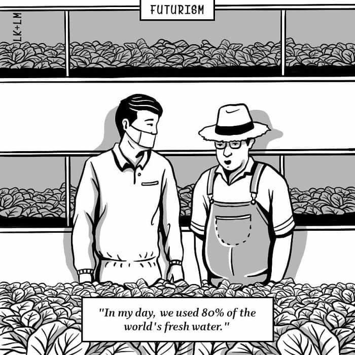«В моё время мы использовали 80% мирового запаса воды» будущее, в мире, комиксы, люди, планета, рисунки. правда жизни
