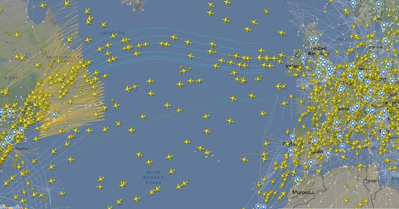 Трасса между Европой и Северной Америкой как, океан, самолеты
