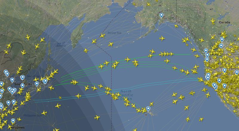 Трасса между Азией и Северной Америкой как, океан, самолеты
