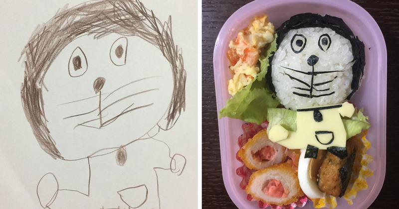 Японский папа превращает рисунки дочери в настоящие обеды бенто, блюдо, дочь, еда, обед, отец, приготовление, рисунок