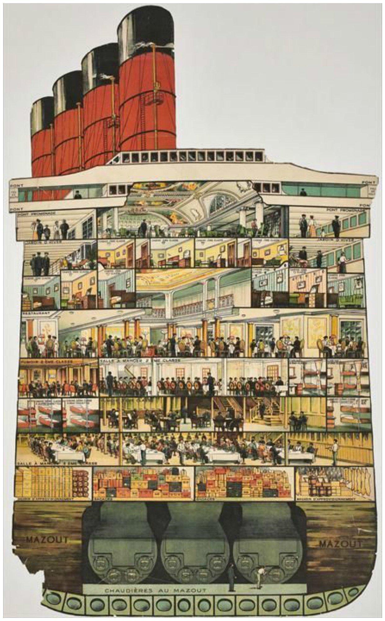 Пароходы в разрезе. Работы архитекторов Ле Корбюзье и Карла Бергштейна изнутри, интересно, как это сделано, познавательно, разрез