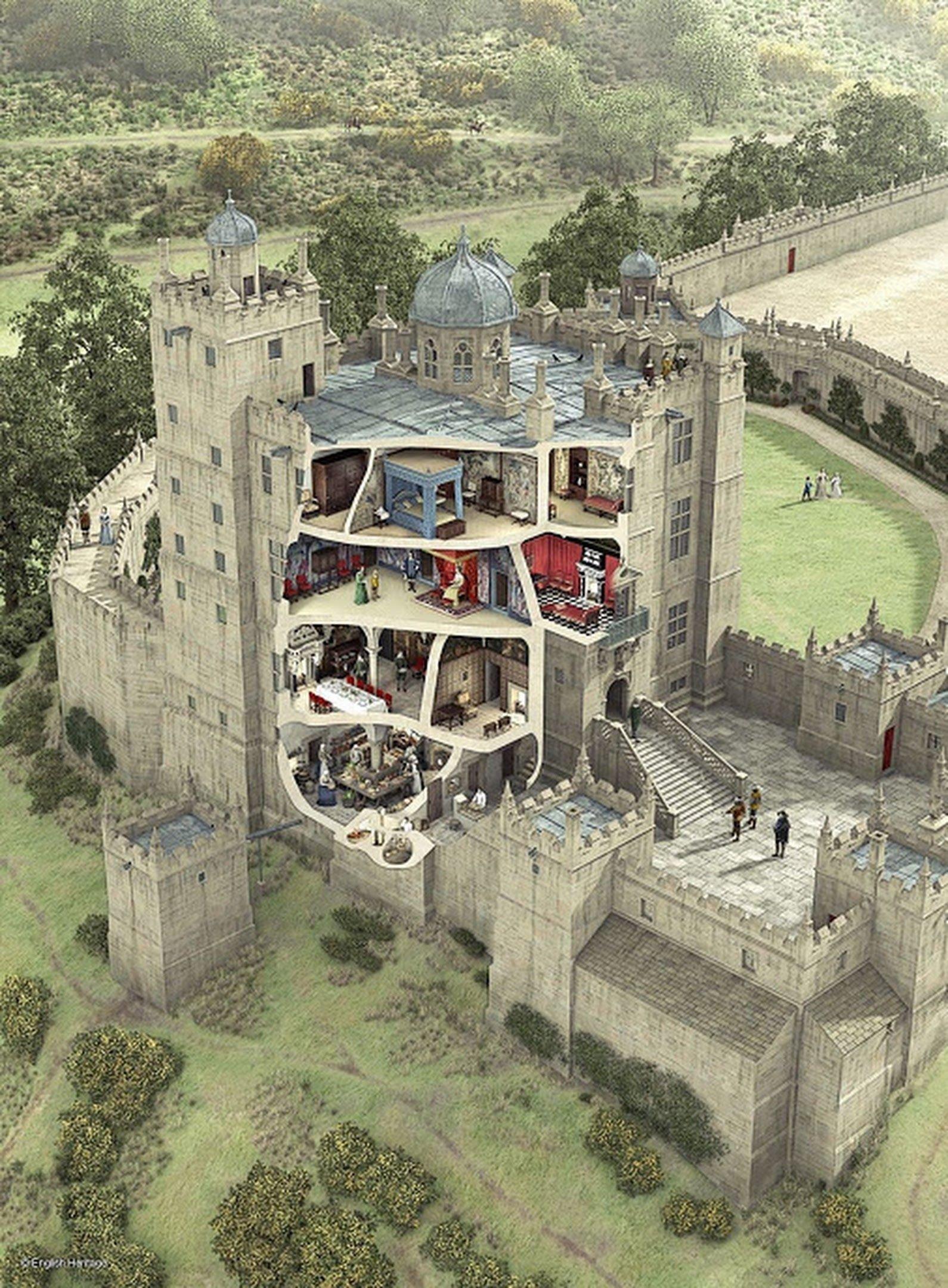 Средневековый замок, Англия изнутри, интересно, как это сделано, познавательно, разрез