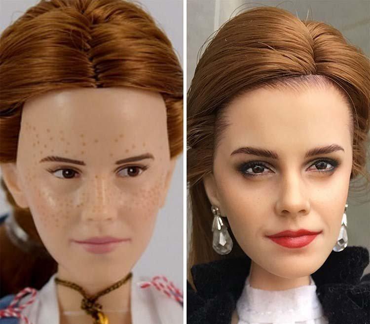 Художница наносит новый макияж куклам, делая их лица максимально реалистичными