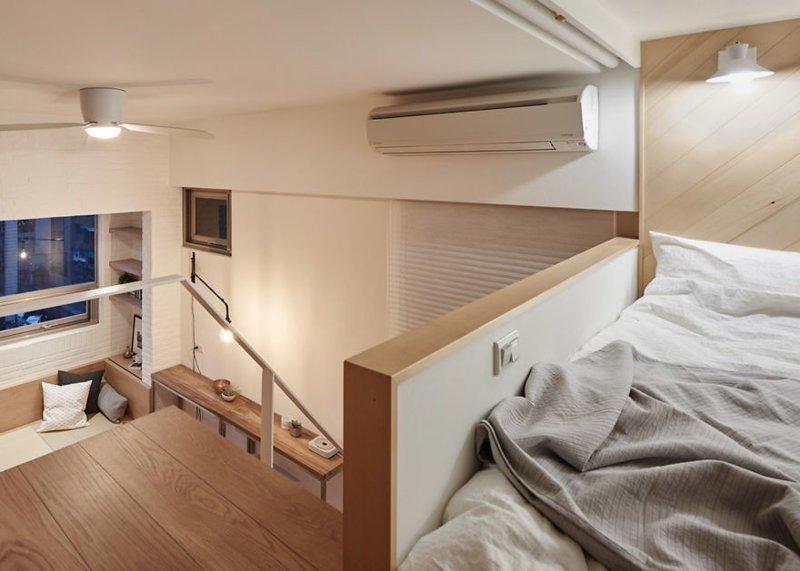 Высокий потолок позволил надстроить второй этаж для спальной зоны дизайн, идея, квартира, комната, планировка, пространство, студия