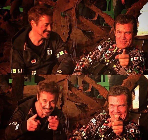 1. Тони Старк и Танос на самом деле большие друганы Marvel Avengers Assemble, Marvel Comics, За кадром известных фильмов, за кадром, мстители на сьемках, мстители смешные моменты, съемочная площадка, съёмки фильма
