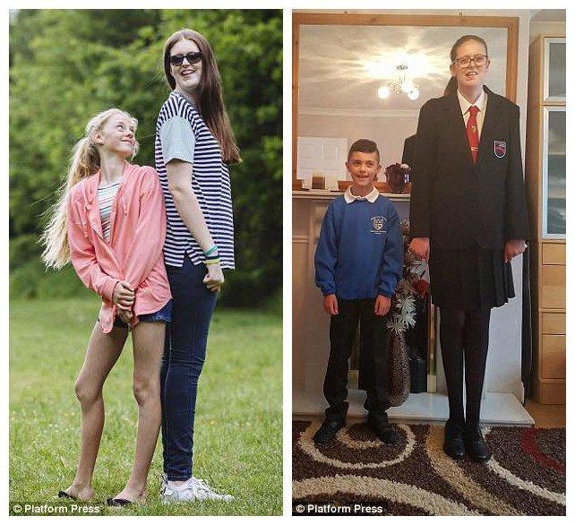 Софи Холлинз (слева - с подругой Мартой, справа - с братом) - новая гиннесовская рекордсменка по росту среди девочек Редкое заболевание, аномалия, великобритания, девочка, рекорд гиннеcса, рекорды гиннеса мира, самая высокая, самая высокая в мире