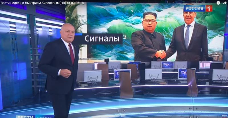 """Скриншот """"Вести недели"""" с улыбающимся Ким Чен Ыном ynews, Вести недели, ким чен ын, киселев, телеканал Россия-1"""
