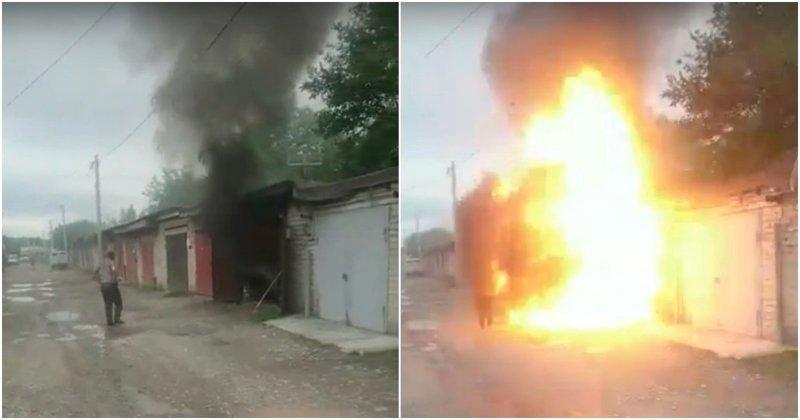 Житель Черкесска подошёл к горящему гаражу и попал в эпицентр взрыва Черкесск, в мире, взрыв, видео, гараж, пожар, происшествие