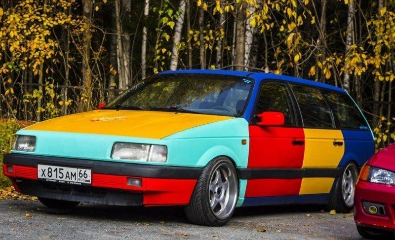 """1. Полный перекрас """"Монтаной"""" в цвета версии """"Арлекин"""" автомобильные приколы, перекрасил тачку, понты, рисунок на авто, фото, юмор"""