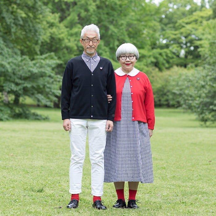 Своеобразный фотопроект привлек внимание сотен тысяч людей люди, муж и жена, муж и жена одна сатана, одежда, пара, пожилые люди, пожилые пары, япония