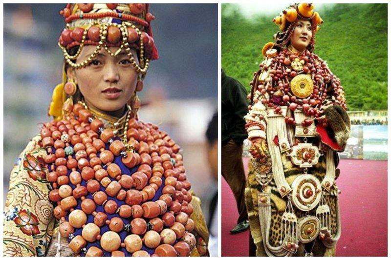 Тибетские наряды - носить невозможно из-за веса, но традиция исторические фото, история, мода, прическа, свадьба, факты