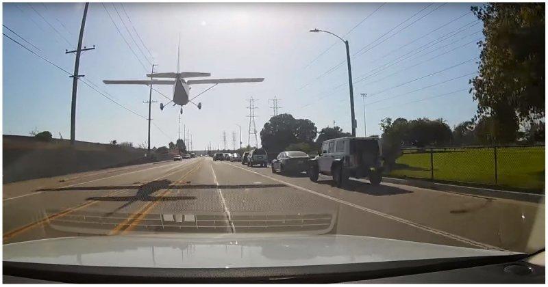 Девушка-пилот безупречно посадила самолёт на оживлённой трассе в Калифорнии видео, мастерство, пилот, посадка, самолет, сша, трасса