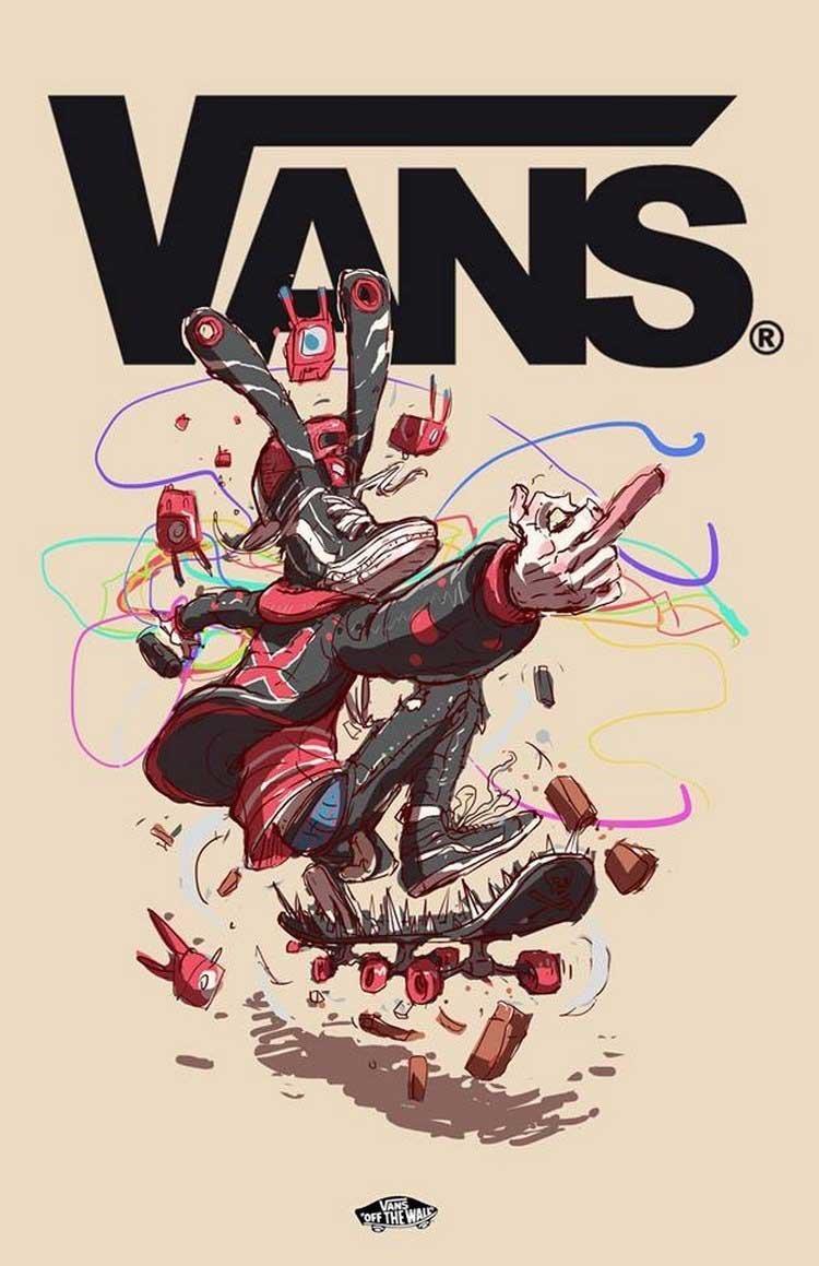17. Vans бренды, известные бренды, креатив, рисунок, фантазия, художник, человекоподобный