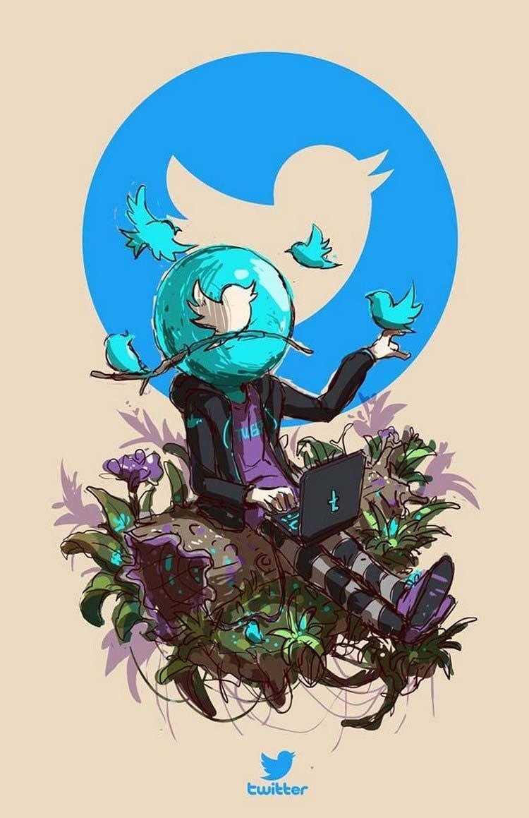 6. Twitter бренды, известные бренды, креатив, рисунок, фантазия, художник, человекоподобный