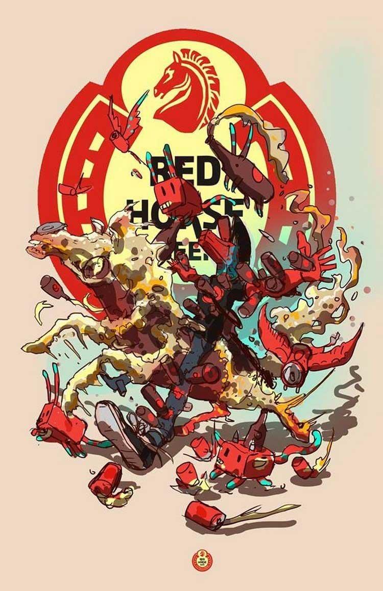 20. Red Horse бренды, известные бренды, креатив, рисунок, фантазия, художник, человекоподобный