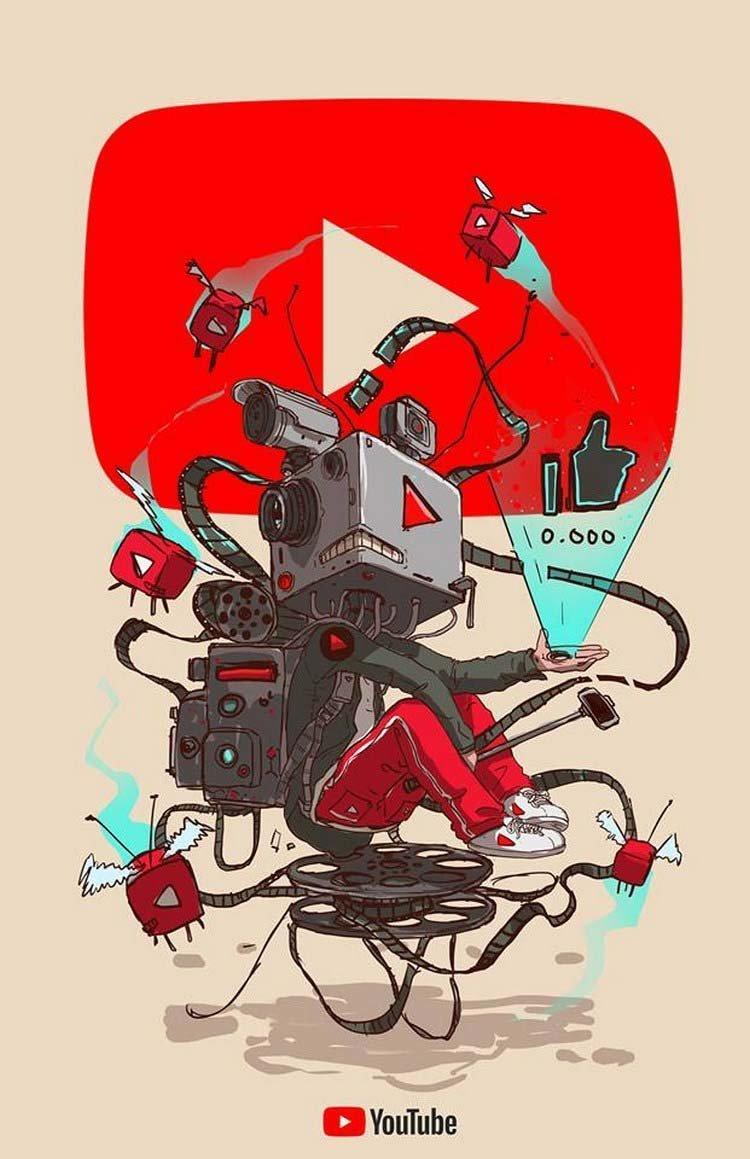 7. YouTube бренды, известные бренды, креатив, рисунок, фантазия, художник, человекоподобный