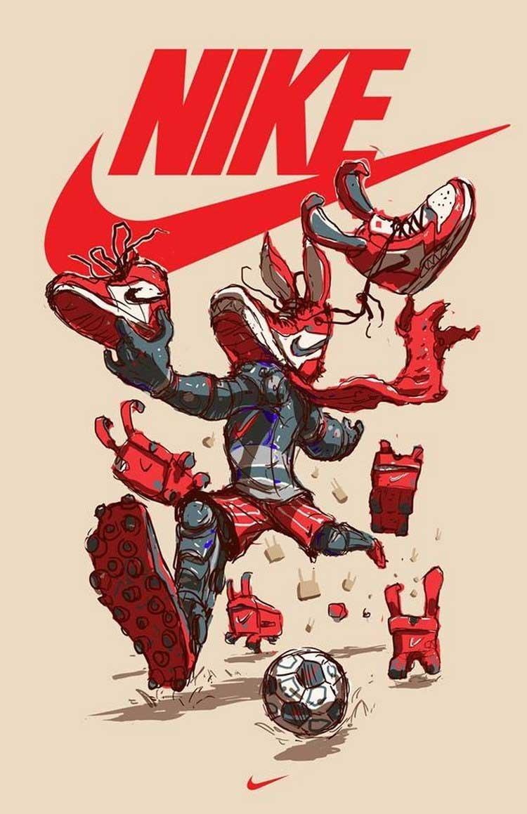 15. Nike бренды, известные бренды, креатив, рисунок, фантазия, художник, человекоподобный