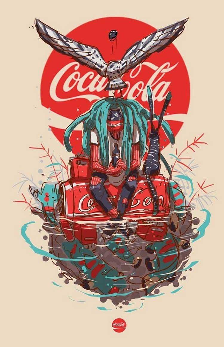 1. Coca-Cola бренды, известные бренды, креатив, рисунок, фантазия, художник, человекоподобный