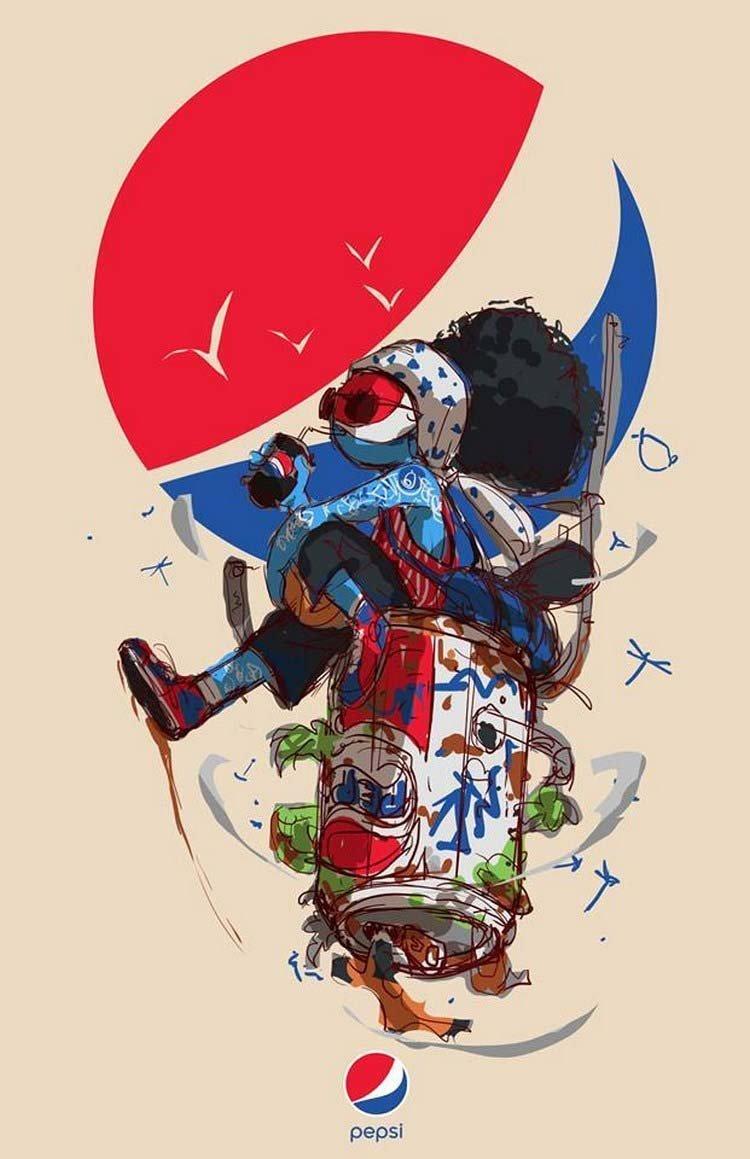 13. Pepsi бренды, известные бренды, креатив, рисунок, фантазия, художник, человекоподобный