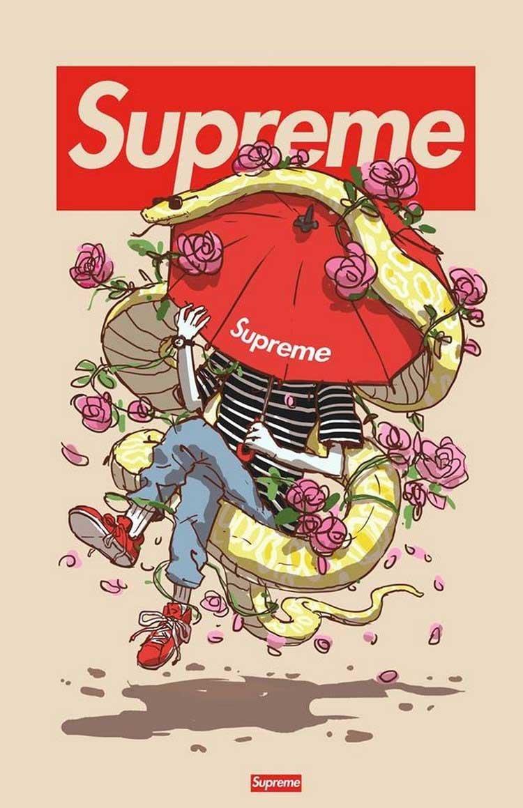 8. Supreme бренды, известные бренды, креатив, рисунок, фантазия, художник, человекоподобный
