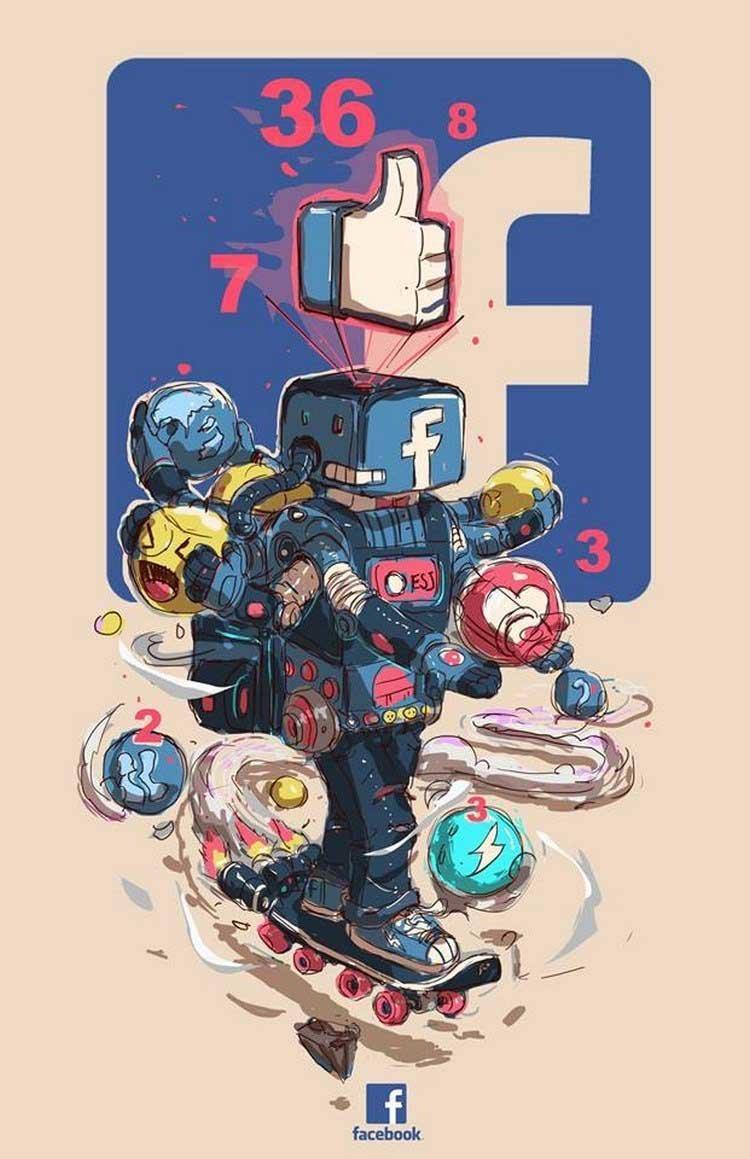 2. Facebook бренды, известные бренды, креатив, рисунок, фантазия, художник, человекоподобный