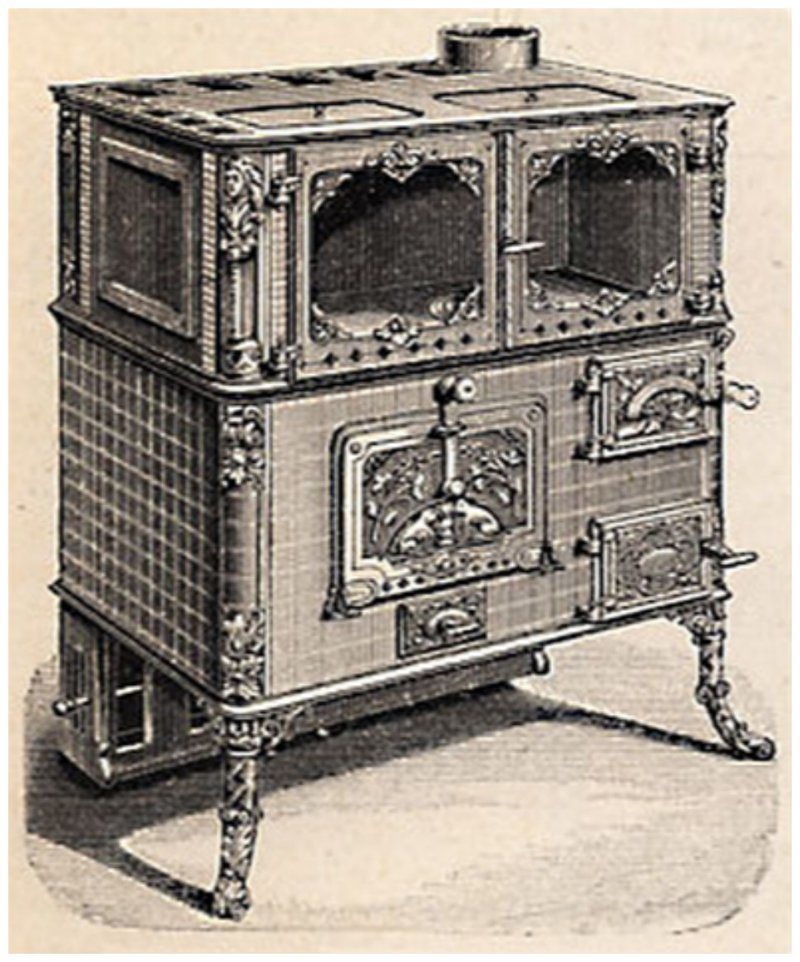 Первоначально газ использовали для освещения, идея применять его для готовки еды предложил британец Джеймс Шарп - на рисунке его первая плита всячина, интересное, история, кухня, плита, факты
