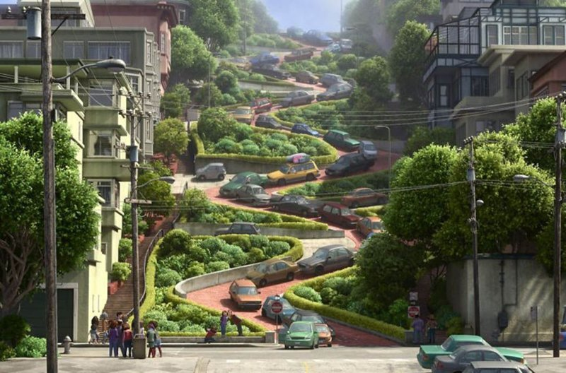 Улица Ломбард, «Головоломка» / Она же в реальной жизни, Сан-Франциско в мире, достопримечательности, интересно, мультфильм