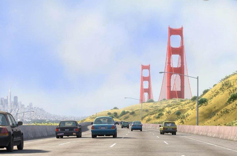 Мост «Золотые ворота», «Головоломка» / Он же в реальной жизни, Сан-Франциско в мире, достопримечательности, интересно, мультфильм