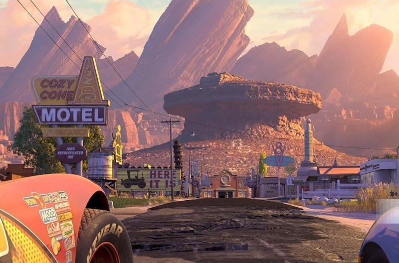 Клаксоновая долина, «Тачки» / Ранчо Кадиллаков, Техас (использованы для фона) в мире, достопримечательности, интересно, мультфильм