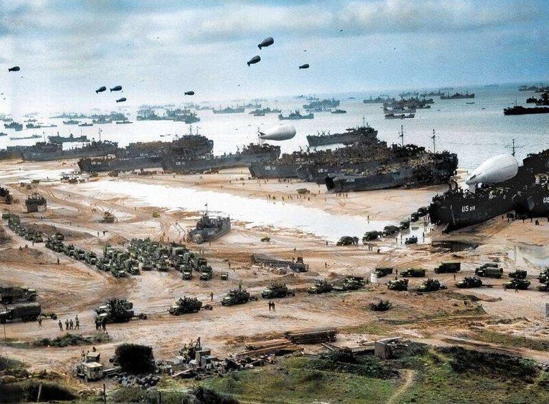 """Годовщина высадки союзников в Нормандии: расцвеченные фото и поздравления ветеранам вторая мировая война, высадка союзников в Нормандии, день """"Д"""", исторические снимки, история, нормандия, реставрация фотографий, цветные фотографии"""