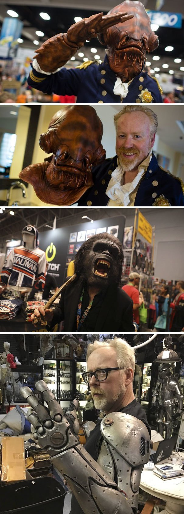 17. Ведущий Адам Сэвидж, специалист по спецэффектам, каждый год приходит на фестиваль Comic-Con в маскировке звезды, знаменитости, знаменитости дурачатся, известные люди, таланты и поклонники, тролли, троллинг, чувство юмора