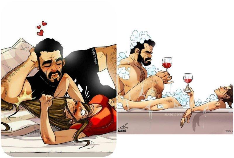А вы видели эту парочку с картинок вживую? Секрет семейного счастья в новых откровенных комиксах Иегуда Ади Девир, комиксы, семья, смешные картинки, художник, юмор