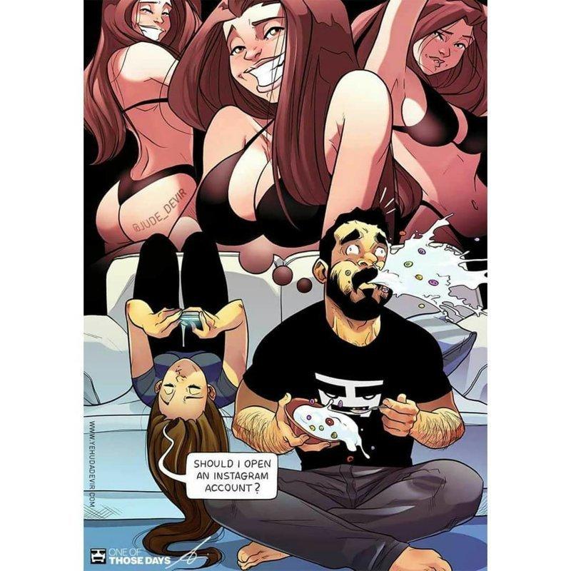 """12. """"Стоит ли мне завести аккаунт в инстаграме?"""" Иегуда Ади Девир, комиксы, семья, смешные картинки, художник, юмор"""