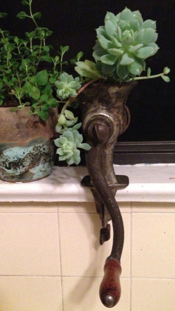 2. Рассмотрите и другой вариант - кашпо для растений жизнь старых вещей, интересно, мясорубка, на все руки мастер, своими руками, фото