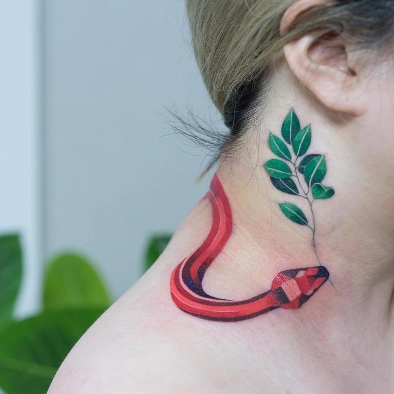 Эта корейская художница делает татуировки змей как никто другой змея, корея, рисунок, тату, татуировки, тело, художница